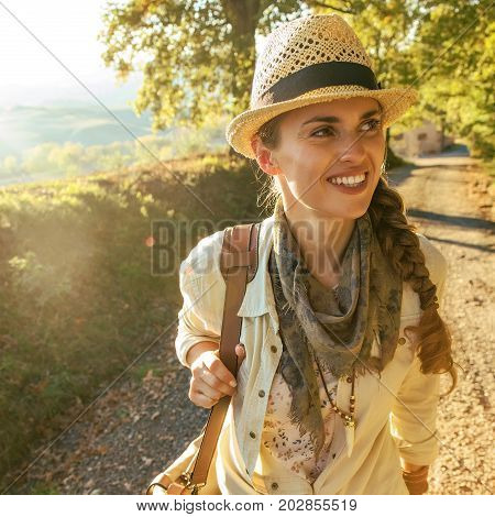 Happy Adventure Woman Hiker With Bag On Tuscany Hike