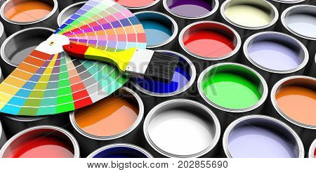 Colors Catalogue And Paint Brush On Paint Cans Background. 3D Illustration