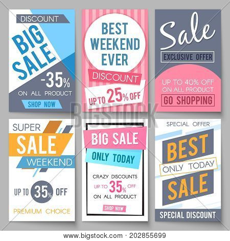 Sale posters vector template with discount and save money offers for email and newsletter design. Shopping and offer discount illustration
