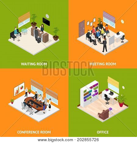 Interior Office Room Poster Card Set Isometric View Cabinet for Business Presentation Conference Meeting and Work. Vector illustration
