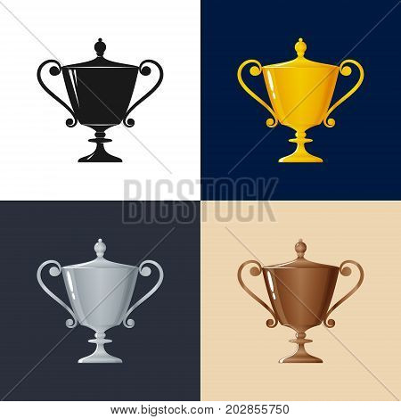 Set of Trophy Cups Gold Silver Bronzed and Silhouette Cup of Winners Vector Illustration