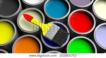 Colorful paint pots and brush. 3d illustration
