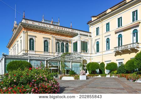 Bellagio Italy - August 31 2010: A luxury hotel courtyard