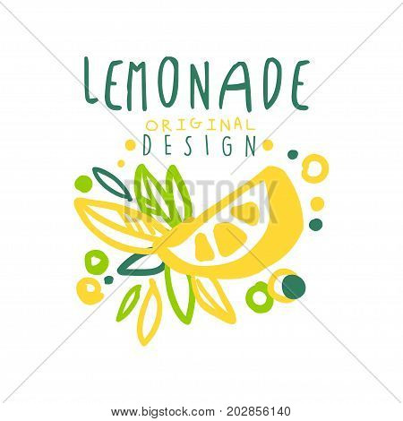 Lemonade logo template original design, colorful hand drawn vector Illustration with fruits for organic food menu, restaurant and cocktail bar, summer refreshment