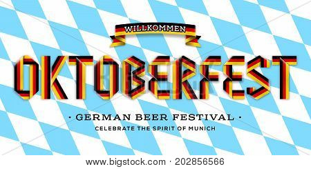 Vector poster for Oktoberfest. Lettering made with ribbon of german flag colors on a traditional bavarian checkered pattern background. Celebration design for Munich beer festival.