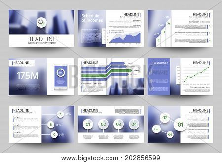Multipurpose business presentation vector templates with blurred photo elements. Corporate brochure design with infographic elements. Promotion annual banner card with blurred backdrop illustration