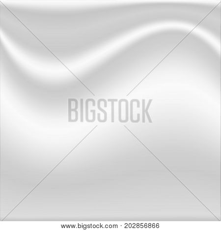 White silk fabric textured crumpled. Textile background. Vector Illustration