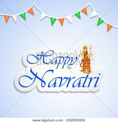 illustration of people doing dandiya dance and decoration with Happy Navratri text on the occasion of hindu festival Navratri