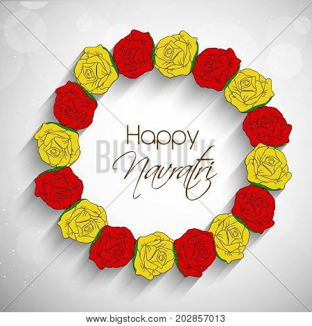 illustration of flowers design with Happy Navratri text on the occasion of hindu festival Navratri