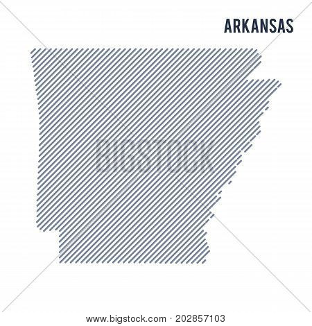 Vector Abstract Hatched Map Of State Of Arkansas With Oblique Lines Isolated On A White Background.