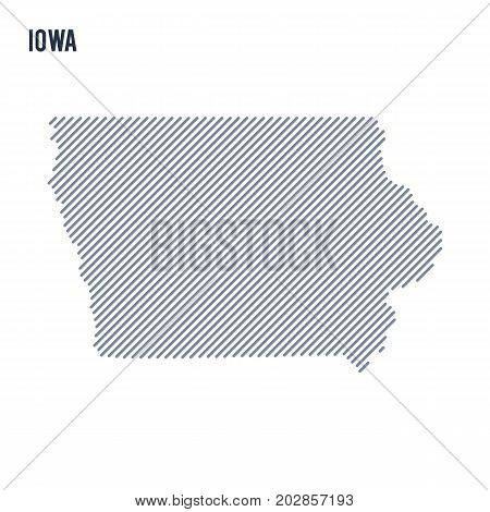 Vector Abstract Hatched Map Of State Of Iowa With Oblique Lines Isolated On A White Background.