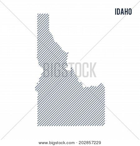 Vector Abstract Hatched Map Of State Of Idaho With Oblique Lines Isolated On A White Background.
