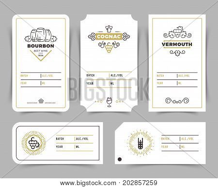Retro alcohol drink vector emblems. Vintage bourbon, whiskey and brandy labels. Vermouth and cognac card emblem illustration