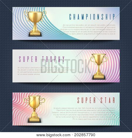 Horizontal banners with sports golden trophy cups vector collection. Super star, championship and trophy banner card illustration