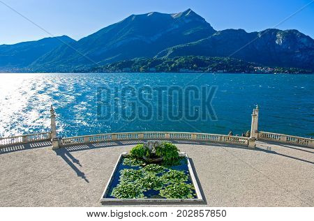 Bellagio Italy - August 31 2010: The Como lake seen from Villa Melzi