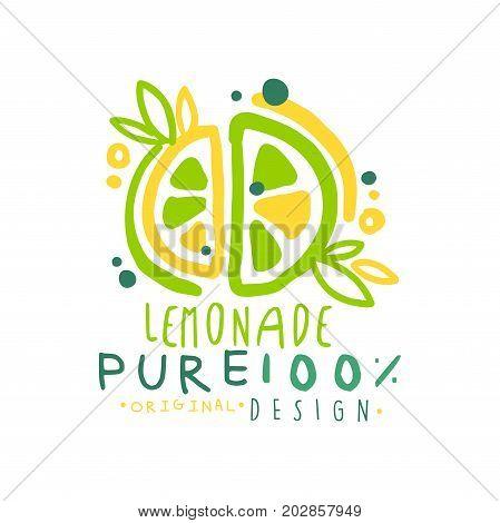Pure lemonade 100 percent logo template original design, colorful hand drawn vector Illustration for organic food menu, restaurant and cocktail bar, summer refreshment