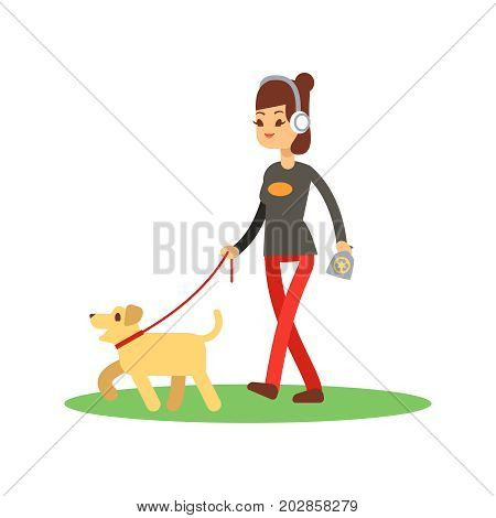 Dogs clean walking concept - girl walks dog isolated on white. Vector walking with dog illustration