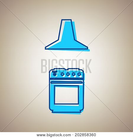 Electric or gas stove and extractor kitchen hood sign. Vector. Sky blue icon with defected blue contour on beige background.