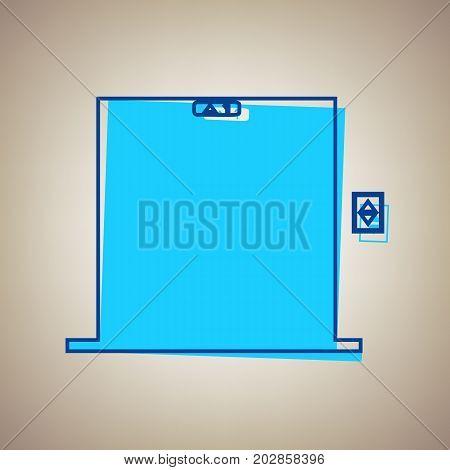 Elevators door sign. Vector. Sky blue icon with defected blue contour on beige background.