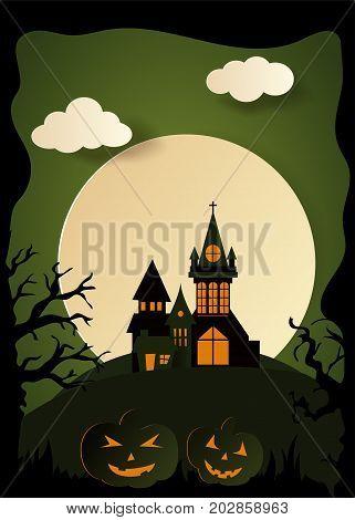 Design withpumpkin on cemetery. Happy halloween paper art style. Vector cut illustration.