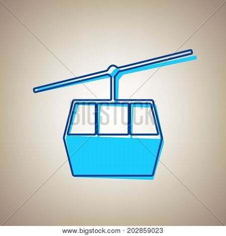 Funicular, Cable car sign. Vector. Sky blue icon with defected blue contour on beige background.