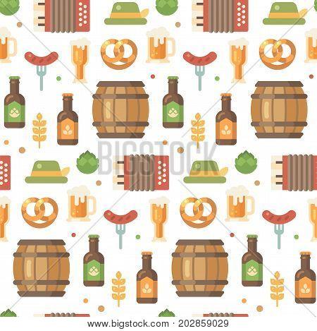 Oktoberfest flat icons pattern. Beer festival pattern on white background. Barrel accordion sausage on a fork beer mug beer bottle hop hat pretzel wheat