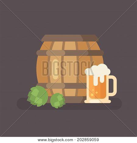Beer barrel hop and beer mug. Oktoberfest beer festival flat illustration