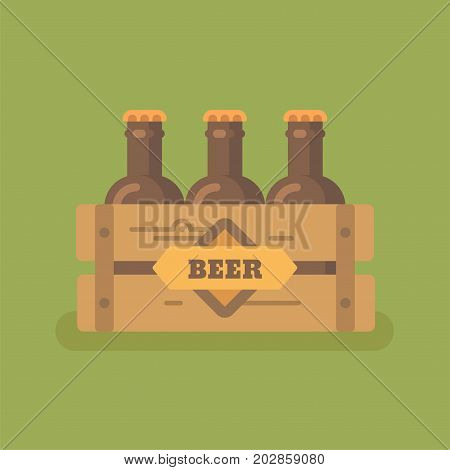Beer crate with three beer bottles flat illustration
