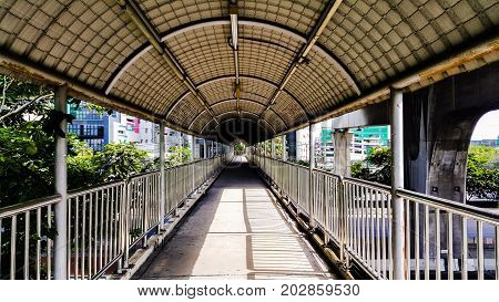 The overpass that have roof in Bangkok city Thailand.