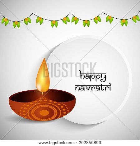 illustration of a lamp and decoration with Happy Navratri text on the occasion of hindu festival Navratri