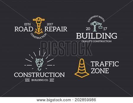 Set of retro vintage construction, traffic cone, crane hook, jackhammer logo or insignia, emblems, labels and badges and other branding objects. Vector line style
