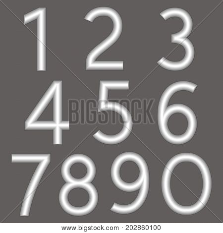 A complete set of numbers made from silver wire with a matte surface. Font is isolated by a gray background. Numbers are made in 3D shapes with smooth edges. Vector illustration.