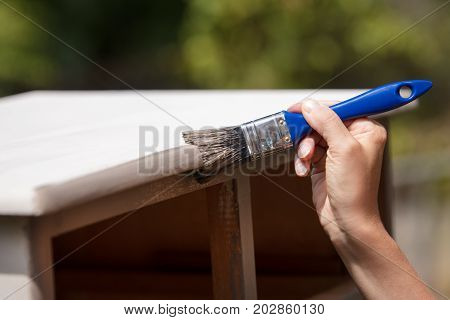 woman is painting an old cupboard outdoor in white and grey shabby chic look poster