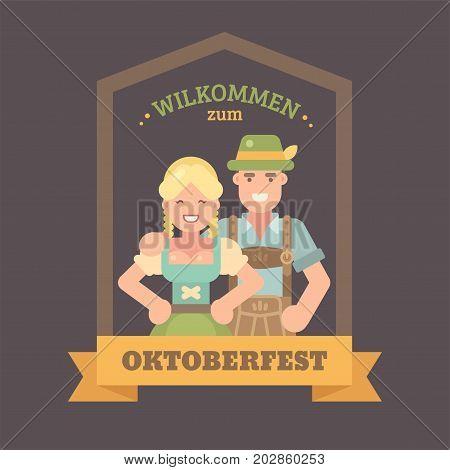 Welcome in German to Oktoberfest flat illustration banner. Man in lederhosen and girl in dirndl dress. Oktoberfest beer festival poster