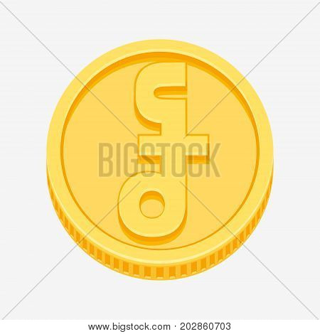 Cambodian riel currency symbol on gold coin, money sign vector illustration isolated on white background