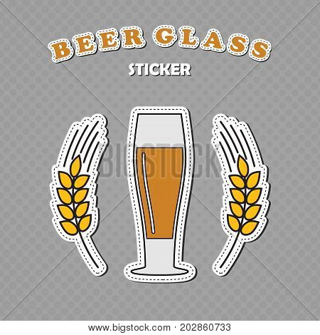Pilsner beer glass and two wheat spikes stickers beer logo vector illustration