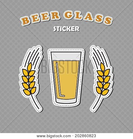 Shaker pint beer glass and two wheat spikes stickers beer logo vector illustration