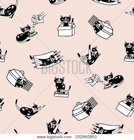 Trendy seamless pattern with comic kitten and its everyday activities against light pink background. Funny cartoon cat hand drawn in doodle style. Vector illustration for fabric print, wallpaper