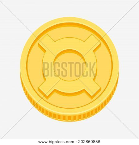 Generic currency symbol on gold coin, money sign vector illustration isolated on white background