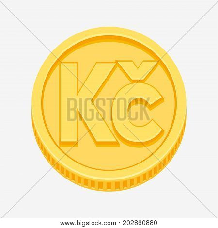Czech koruna currency symbol on gold coin, money sign vector illustration isolated on white background