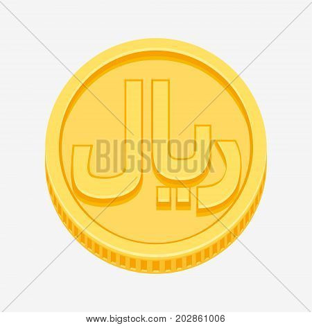 Iranian rial currency symbol on gold coin, money sign vector illustration isolated on white background