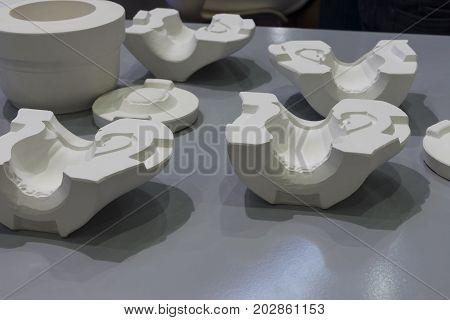 white mould for ceramic slip casting production processselective focus