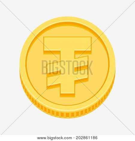 Mongolian tugrik currency symbol on gold coin, money sign vector illustration isolated on white background