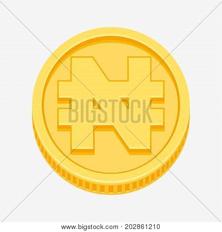 Nigerian naira currency symbol on gold coin, money sign vector illustration isolated on white background