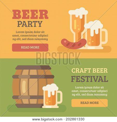 Two colorful beer party banners. Beer barrel beer mug sausage. Oktoberfest beer festival flat illustration