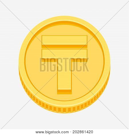 Kazakhstani tenge currency symbol on gold coin, money sign vector illustration isolated on white background