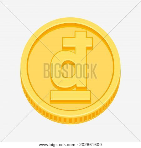 Vietnamese dong currency symbol on gold coin, money sign vector illustration isolated on white background