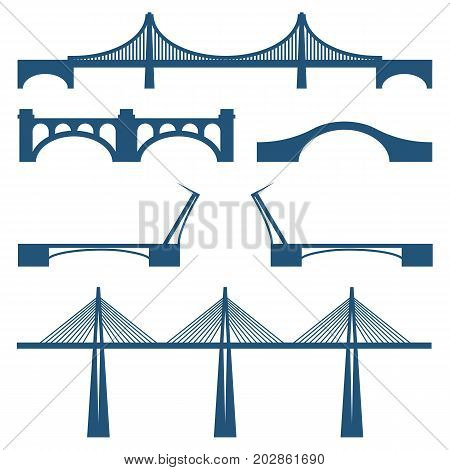 Set of bridges movable, cable way metal and stone bridge vector illustration icons isolated on white background. Collection of constructions across river