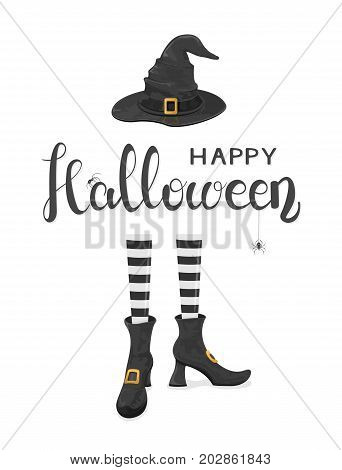 Spiders on lettering Happy Halloween with witches legs in shoes and black hat on white background, illustration.