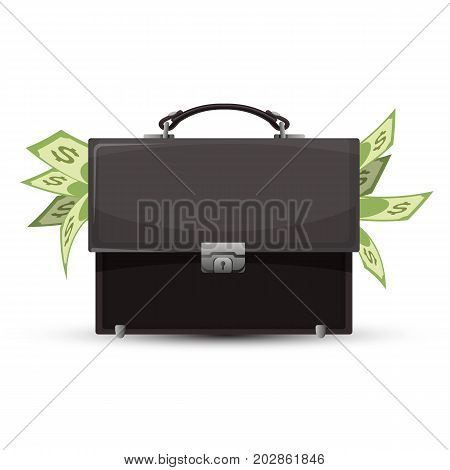 Closed briefcase and sticking out dollar bills vector illustration isolated on white background. Valise staffed with money business icon
